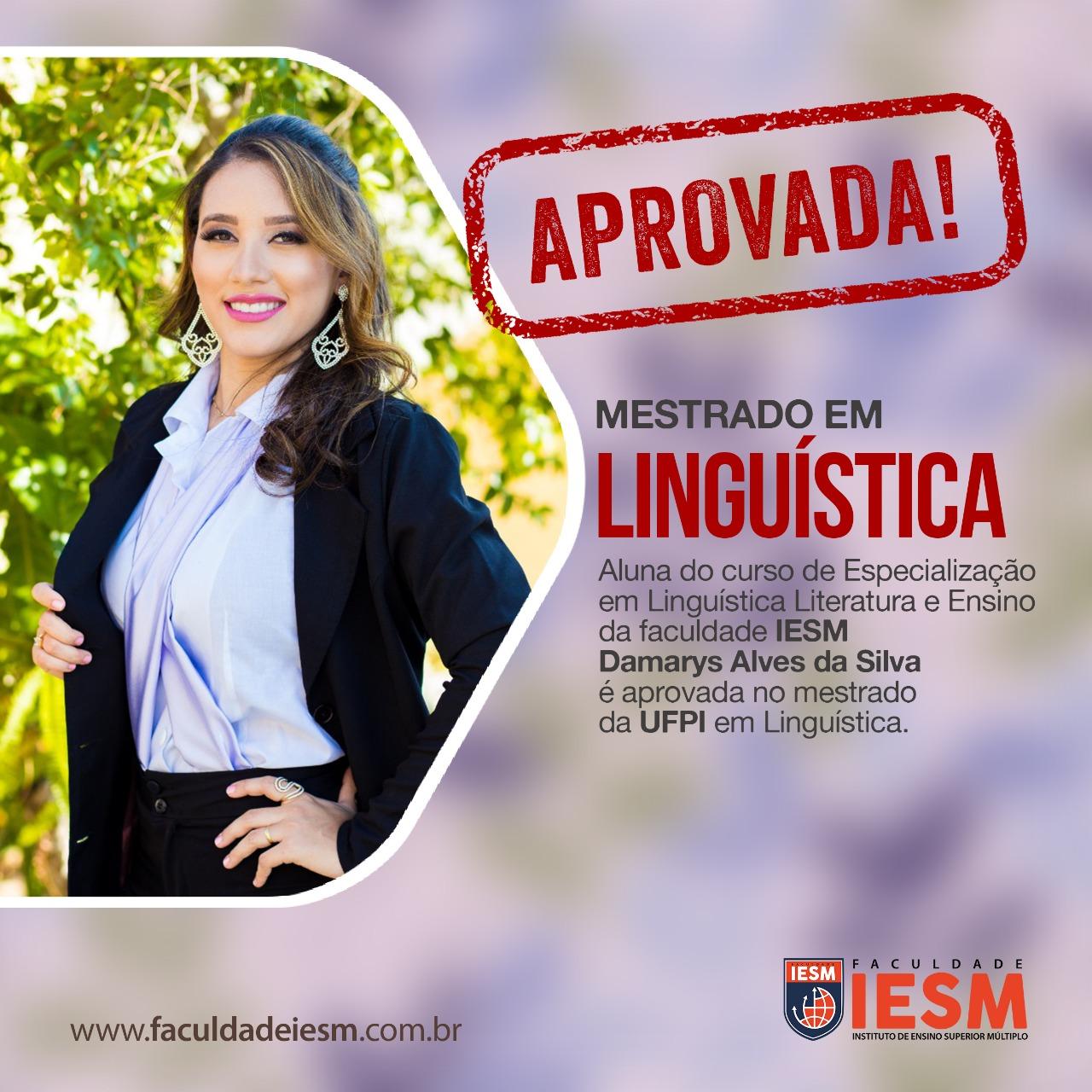 APROVADA, aluna do curso de especialização em linguística literatura e ensino da faculdade IESM